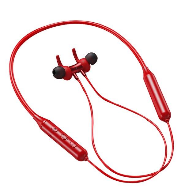 Kablosuz kulaklık boyun asılı spor kulaklık Bluetooth 5.0 kulaklık akıllı telefon Tablet kulaklık, kırmızı