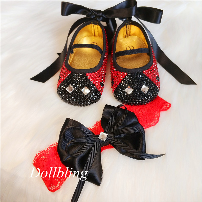 Lady Bug Inspried Sparkly Rhinestone Baby Shoes and Headband One Hundred Day Dress Red Bottom Sole Bling First Walking Shoes image