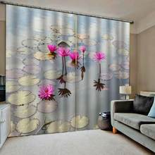 Custom made 3D Window Curtain Lotus Curtains For Living Room Bedroom Fresh Blackout Drapes(China)