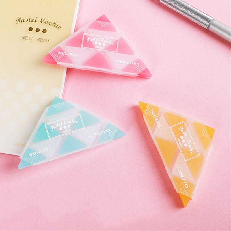 1 Pcs Colorful Triangle Rubber Erasers Durable Flexible Pencil Eraser For Students Stationery School Supplies For Kids