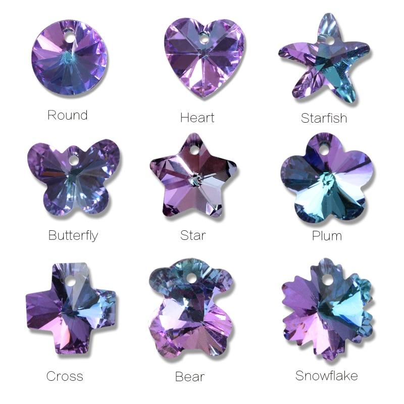 Hight quality rhinestones pendant purple one hole Butterfly heart star glass stone rhinestones for diy Jewellery accessories