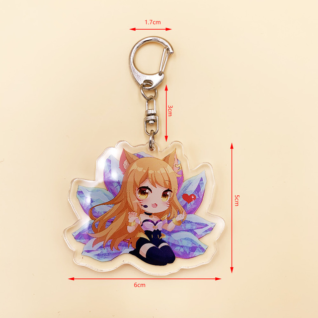 Cute Cartoon Game League of New Legends Keychain LOL Acrylic Figure Rakan/Ahri/Riven/Yasuo Bag Pendant Car Key Charm Porte Clef 3