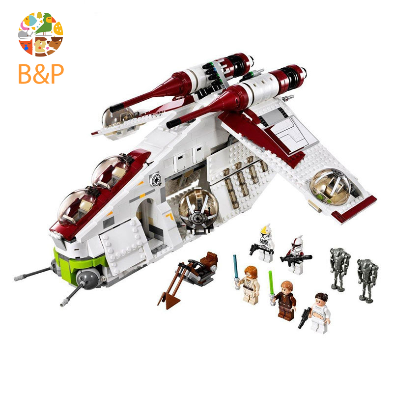 Star 75021 Wars Series The Republic Gunship Set Model Building Blocks Bricks Toys Compatible with <font><b>05041</b></font> for Children image