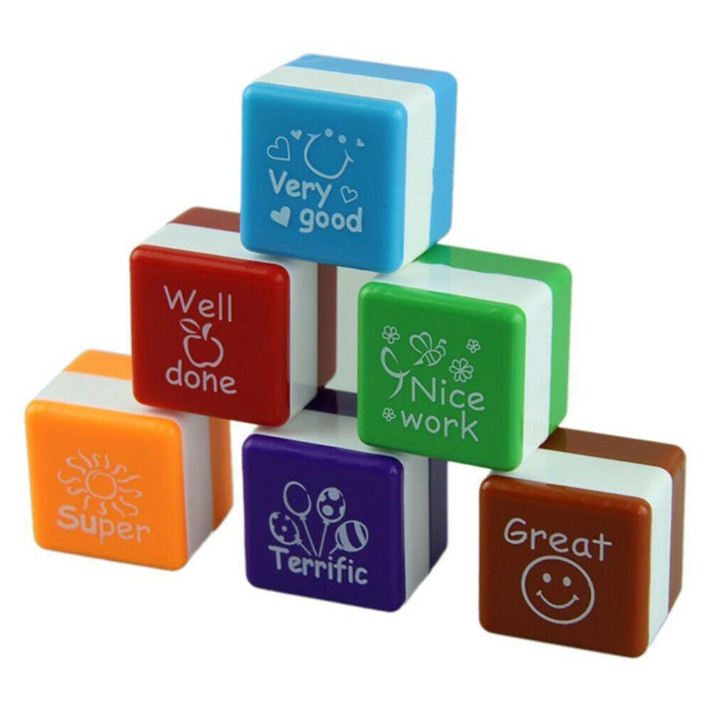 6pc/set Kindergarten Teachers Reward Stamper Children School Motivation Praise Reward Stamps Sticker DIY English Words Kids Toys
