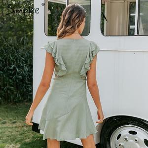 Image 4 - Simplee フリル o ネック半袖夏ドレス女性ノースリーブカジュアル A ライン女性のドレスハイウエストストライプの女性ミニドレス 2020