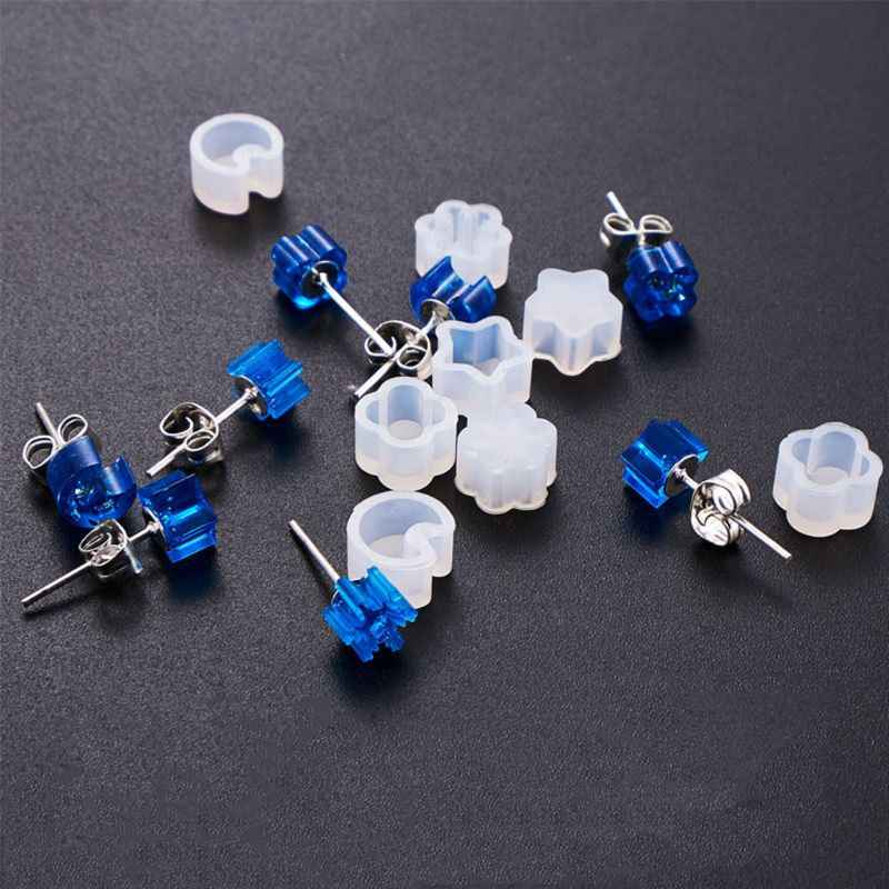 2 Pcs Silicone Mold Ear Stud DIY Jewelry Making Snowflake Moon Star Flower Shape Mini Small Molds Epoxy Resin Crafts Tools E