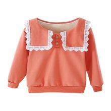 Детский свитер для маленьких девочек; хлопковая теплая весенняя одежда с длинными рукавами в Корейском стиле; хлопковая одежда на пуговицах; флисовые плотные Топы