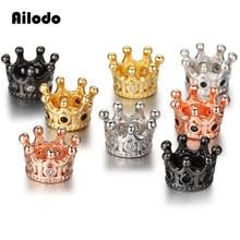 Ailodo 3Pcs/Lot DIY CZ Crown Beads Mirco Pave Cubic Zirconia Spacer Charm Fit Men Beaded Bracelet Making LD380