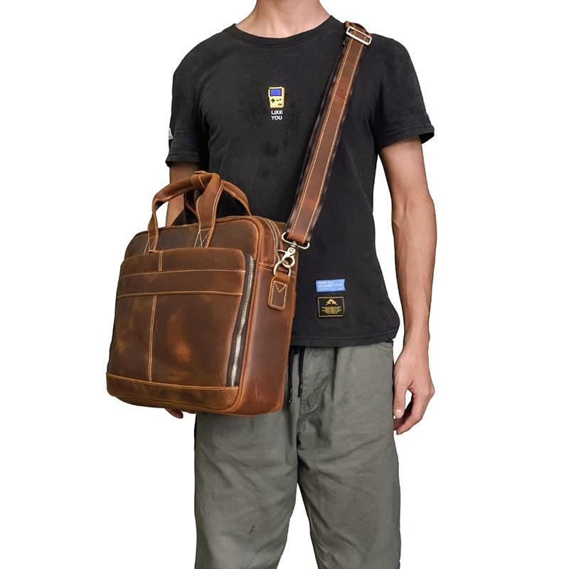 Genuine Leather Solid Business Bag Briefcase Men Messenger Bag Leather Laptop Bag 15 Inch Maletines Hombre Men's Briefcase