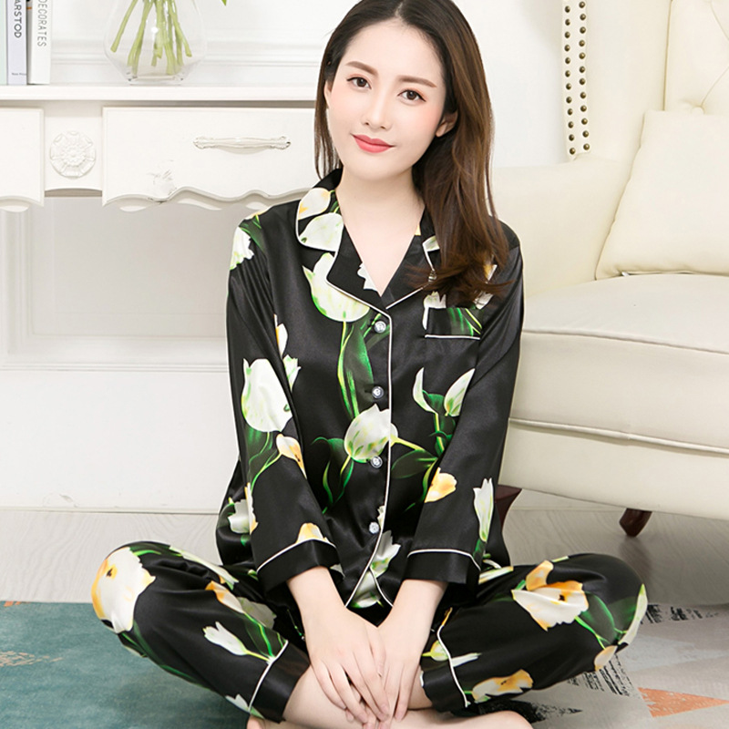 Spring And Autumn New Style Pajamas Women Long Sleeve Model Silk Cardigan Suit Cute Korean-style Fold-down Collar Viscose Home W
