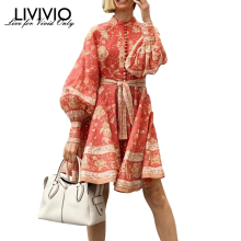 [LIVIVIO] винтажные красные мини-платья с цветочным принтом, длинным рукавом и поясом-фонариком, на пуговицах и шнуровке, Женская мода осень