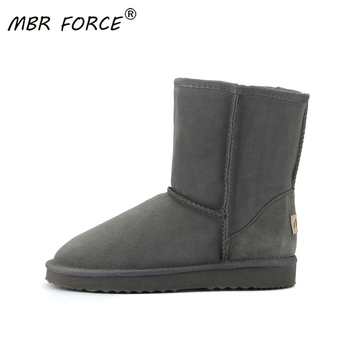 MBR FORCE Australia Boot Winter Warm leather suede winter snow boots for women Mid-Calf Boots winter for Girl's Black gray shoes autumn winter new suede leather female beautiful fringe boots sexy high heel long tassel mid calf boots tide women mid calf boot