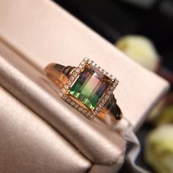 Женское кольцо с арбузным турмалином 100% карата, из 18-каратного золота