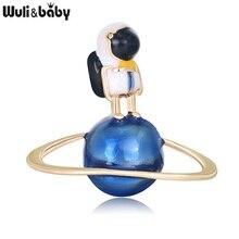 Женская/Мужская эмалированная брошь Wuli & baby, вечерние Броши с астронавтом из сплава, для путешествий, космонавта