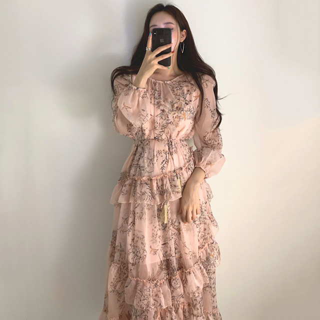 WAVSIYIER print floral vintage party a-line long sleeve woman korean style autumn winter elegant dresses 2020 loose dress women 1