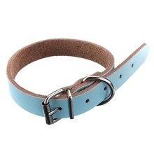 Кожаный ошейник для собак для кошек домашних животных щенков сине-XS