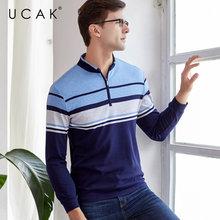 UCAK Brand T Shirt Men Clothes 2019 Autumn Business Casual T-Shirt Mandarin Collar Long Sleeve Cotton Tee Homme U5003