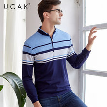 UCAK Brand T Shirt Men Clothes 2019 Autumn Business Casual T-Shirt Men Mandarin Collar Long Sleeve Cotton Tee Shirt Homme U5003 casual drawstring mandarin collar t shirt