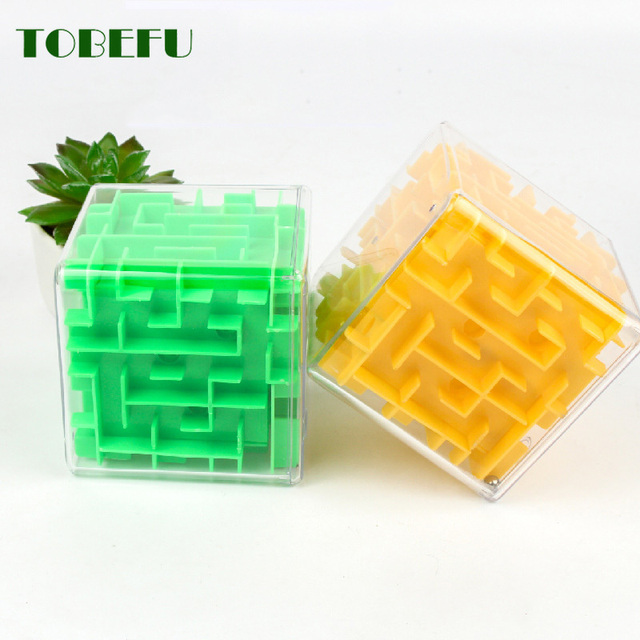 TOBEFU 3D Maze Magic Cube Transparent Six-sided Puzzle Speed Cube Rolling Ball Game Cubos Maze Toys for Children Educational 5