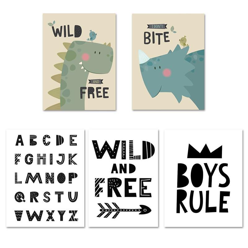3 Dinosaur Rule Prints Nursery Wall Art Wild /& Free Decor Room Pictures