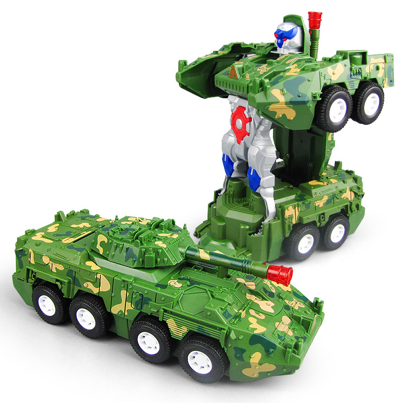 New Style Hot Selling Children Electric Universal Transformation Armoured Car With Light And Music Automatic Transformation Robo