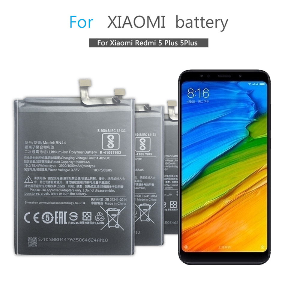 BN44 Mobile Phone Battery For Xiaomi Redmi 5 Plus 5Plus Replacement Battery BN44 4000mAh