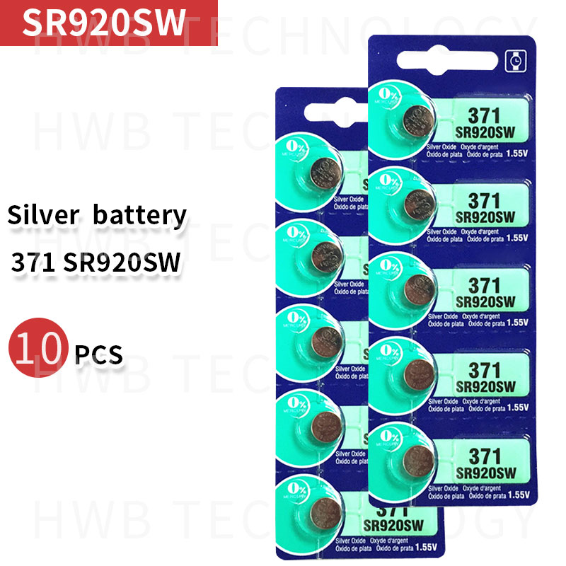 10ps Silver Oxide Watch <font><b>Battery</b></font> <font><b>371</b></font> SR920SW 920 1.55V 100% original brand renata <font><b>371</b></font> renata 920 <font><b>battery</b></font> image