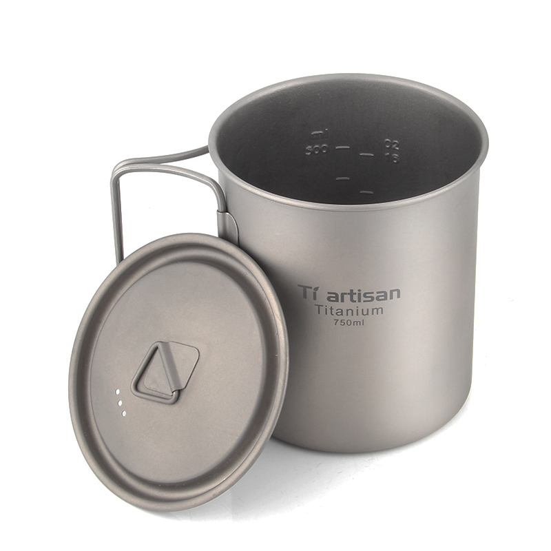 Tiartisan Ultralight Titanium Mug Portable Camping Picnic Water Cup Mug With Foldable Handle 300ml / 350ml / 550ml / 650ml
