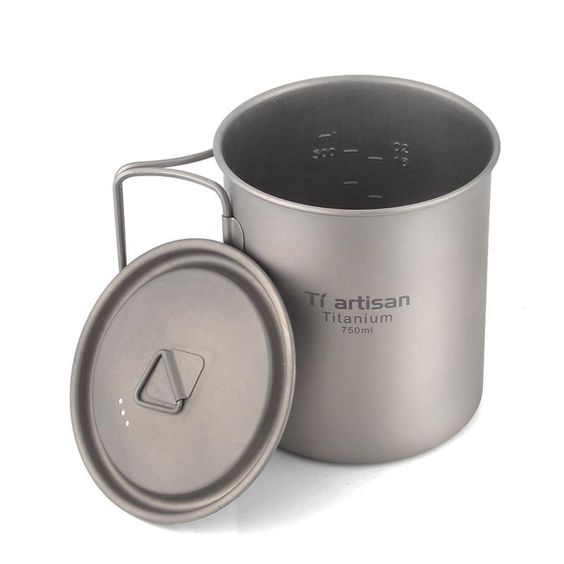 Tiartisan Ultralight Titanium Mug Portable Camping Picnic Water Cup Mug With Foldable Handle 300ml / 350ml / 550ml / 650ml
