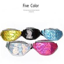 QIUYIN Waist Packs Laser Nylon Phone Fashion Pouch Holographic Bags Women Black Silver Fanny Pack Female Belt Bag