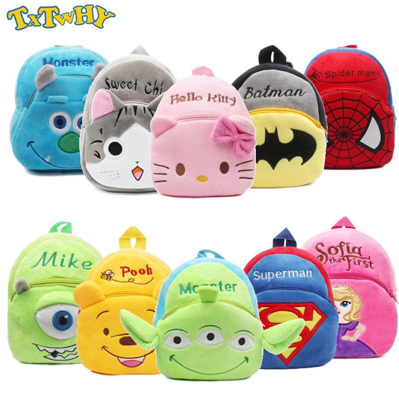 Cute Mickey Baby Plush Backpack Mouse Toy Alien Mini Kitty School Bag Children's Gifts Girl Baby Student Bags Lovely Wallet