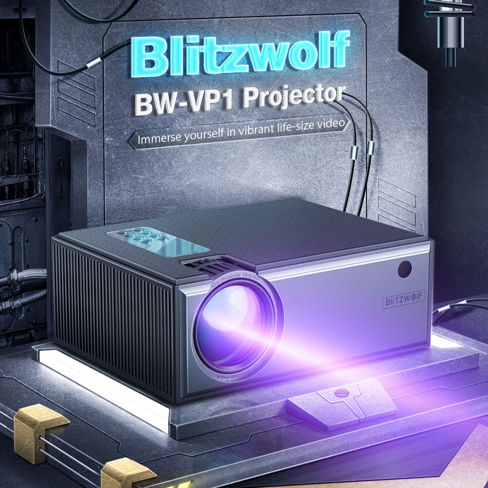 Blitzwolf 720P Projector 50-200 Inch 2800 Lumens 16:9 4:3 Office Smart Home Theater Support 1080P Input Portable Video