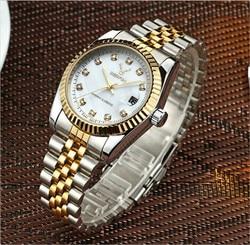 Luxus Marke Rolexable Mode Rose Gold Männer Frauen Kalender Quarzuhr Edelstahl Strap Casual Kleid Wasserdichte Uhr