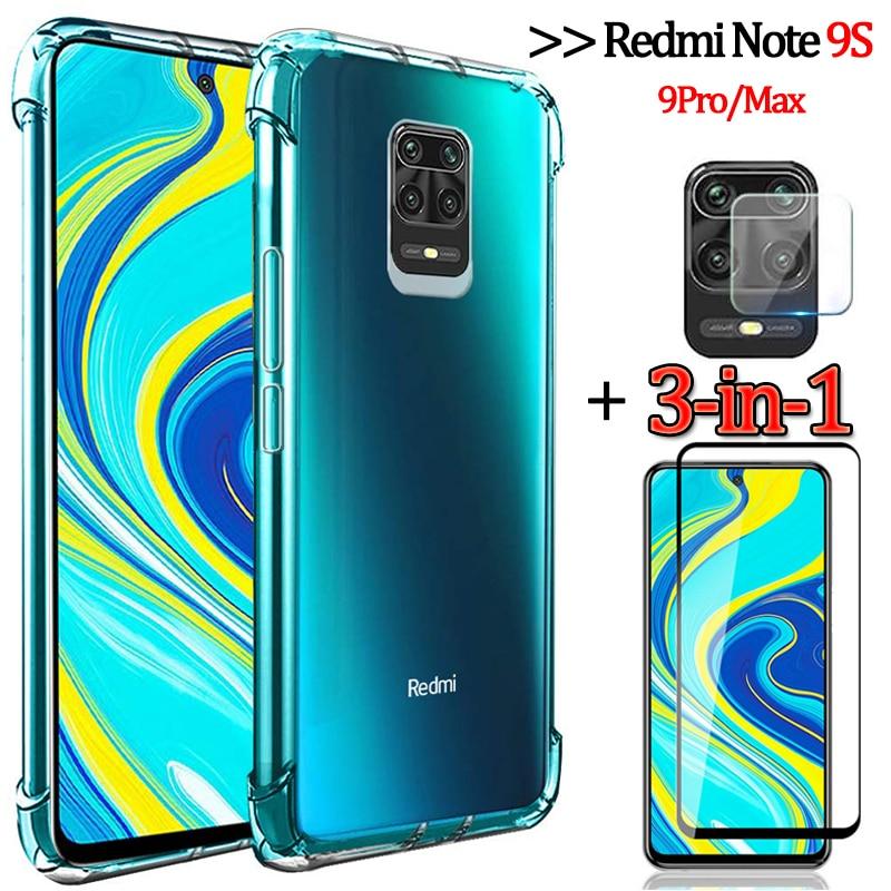 3-In-1Capa,Glass+Airbag Case For Redmi Note 9S Soft Clear Anti-Shock Phone Cover Redmi Note 9Pro Case Note-9 S Xiaomi Redmi9a 9C