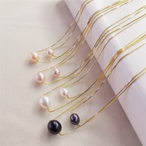DAIMI 6-7/7-8mm Natural Freshwater Pearl Necklace 925 Sterling Silver Pearl Pendant Necklace For Women