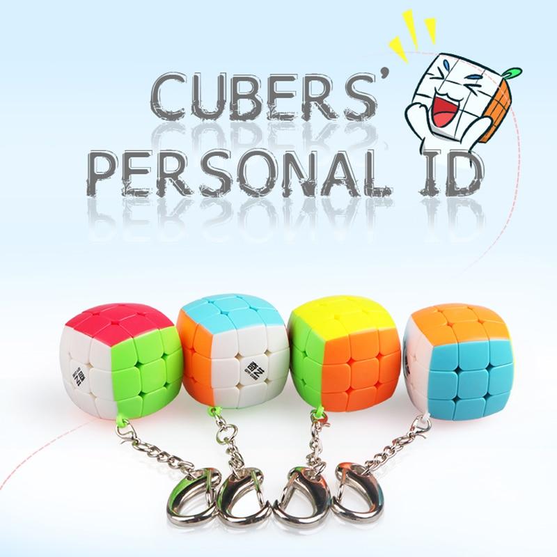 Qiyi 3cm Mini 3x3x3 Speed Magic Cube Keychain Mini Twist Puzzle Cube Fidget Magic Cute Toys Gift Smart Key Ring Decoration