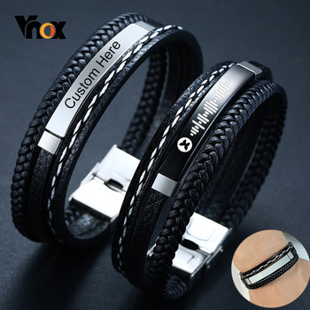Vnox Customize Name Quotes Leather Bracelets for Men Glossy Stainless Steel Layered Braided Bangle Personalized DAD Husband Gift faux gem flowers layered bracelets