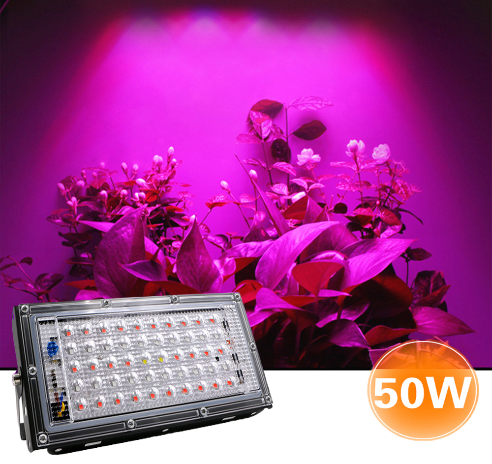 50W LED Strip Plant Growth UV Lamp 220V Plant Floodlight Greenhouse  Hydroponic Spotlight  Full Spectrum Therapy Flower FruitZH