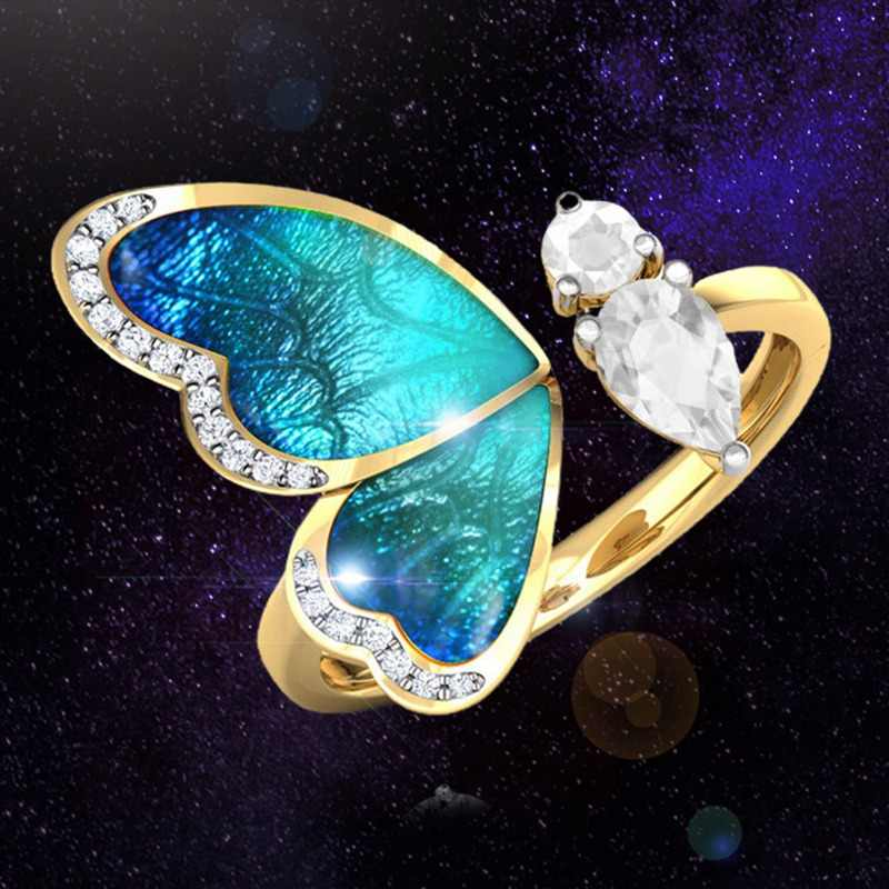 Creative Blue Butterfly Wings Gold Open Finger Ring Personality Adjustable Open Butterfly Rings Party Jewelry for Women