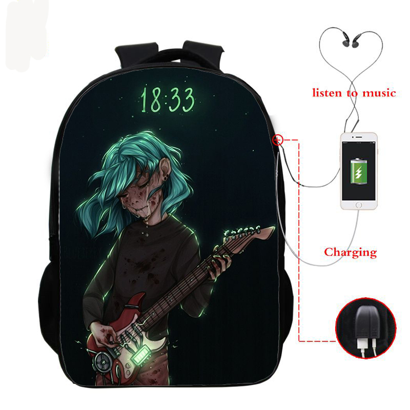 USB Charging Teenage School Bags Sally Face 3d Printing Schoolbag For Boy Girls Bookbag Daily Travel Backpack Laptop Backpacks