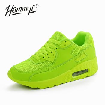 Hemmyi damskie trampki letnie oddychające siatkowe buty markowe dla kobiety czarny zielony czerwony Tenis Feminino panie kosz na buty Femme tanie i dobre opinie Mesh (air mesh) Szycia Mieszane kolory Dla dorosłych Cotton Fabric Lato Niska (1 cm-3 cm) Lace-up Pasuje prawda na wymiar weź swój normalny rozmiar