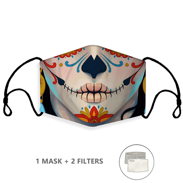 Print Mouth Mask Washable Cotton PM2.5 Filter Mask Anti Dust Face Mask Reusable Mouth-muffle Bacteria Proof Flu Adult Kids Mask
