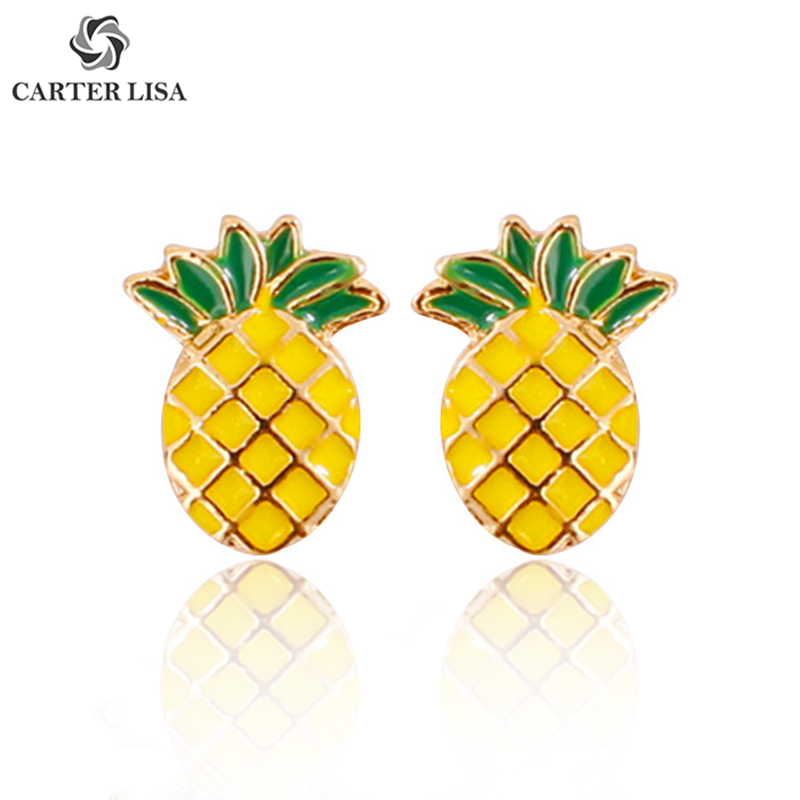 CARTER LISA Elegant Kawaii Cute Fruit Pineapple Stud Earrings Dainty Minimalist Post Earrings For Women Everyday Jewelry Gift