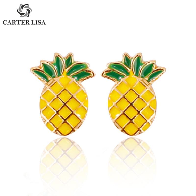 CARTER LISA Elegant Kawaii Cute Fruit Pineapple Stud Earrings Dainty Minimalist Post Earrings For Women Everyday Jewelry Gift