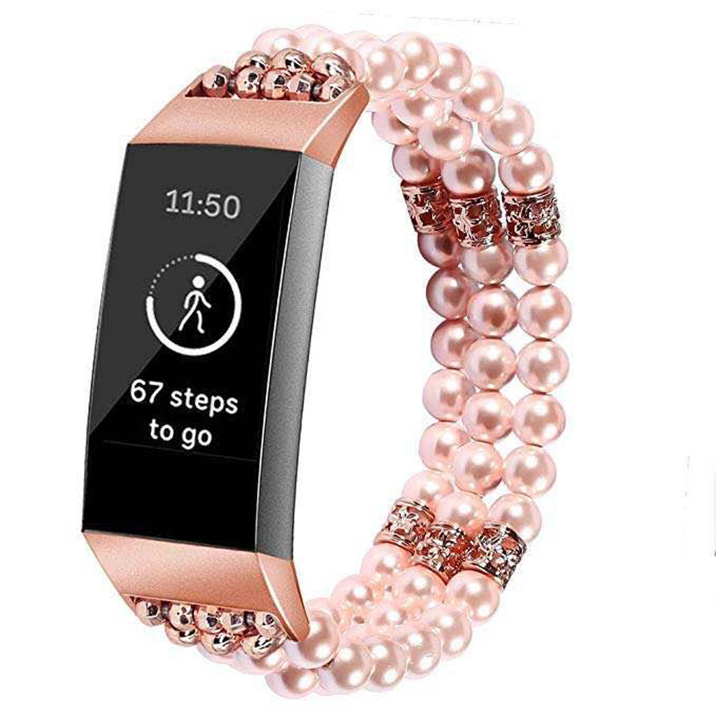 For Fitbit Charge 3 Replace Watch Band Bead Bracelet pearl Jewelry Wristband Strap Youth Smart Watch Replacement Band Smartwatch