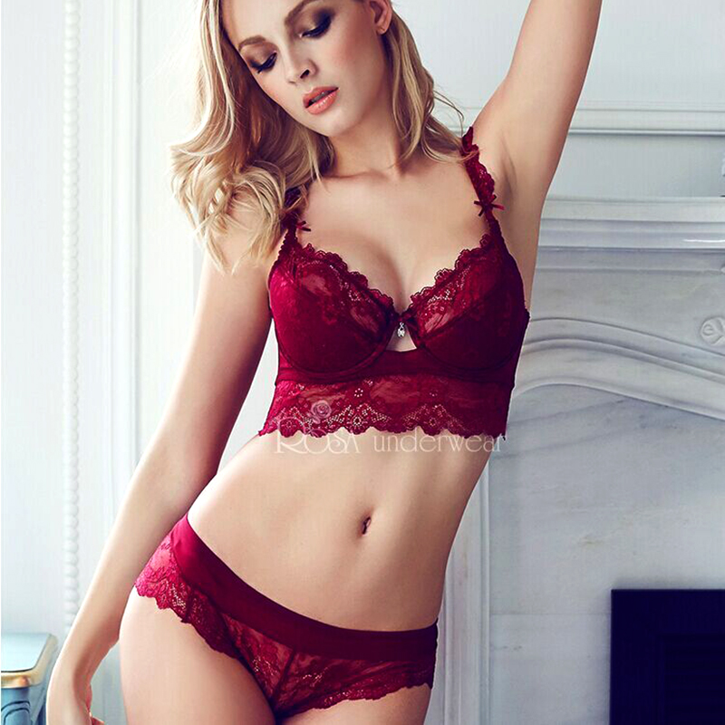 new summer female lingerie sexy lace bras Red gather push up women underwear bra set girl transparent lace bra and panty set
