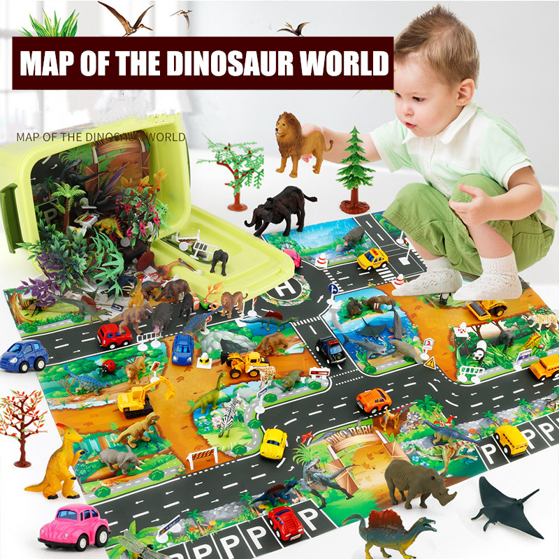 2020 Science Educational Children Toys Simulation Model Marine Wildlife Animals Map Playmat Dinosaurs Toys Set With Storage Box
