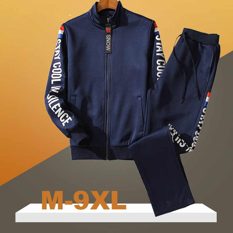 M-9XL Große Größe Trainingsanzug Set Männer Herbst Frühling Sportwear Männer Zipper Mantel Hosen 2 Stück Sets Schweiß Anzug Sporting Fitness sets
