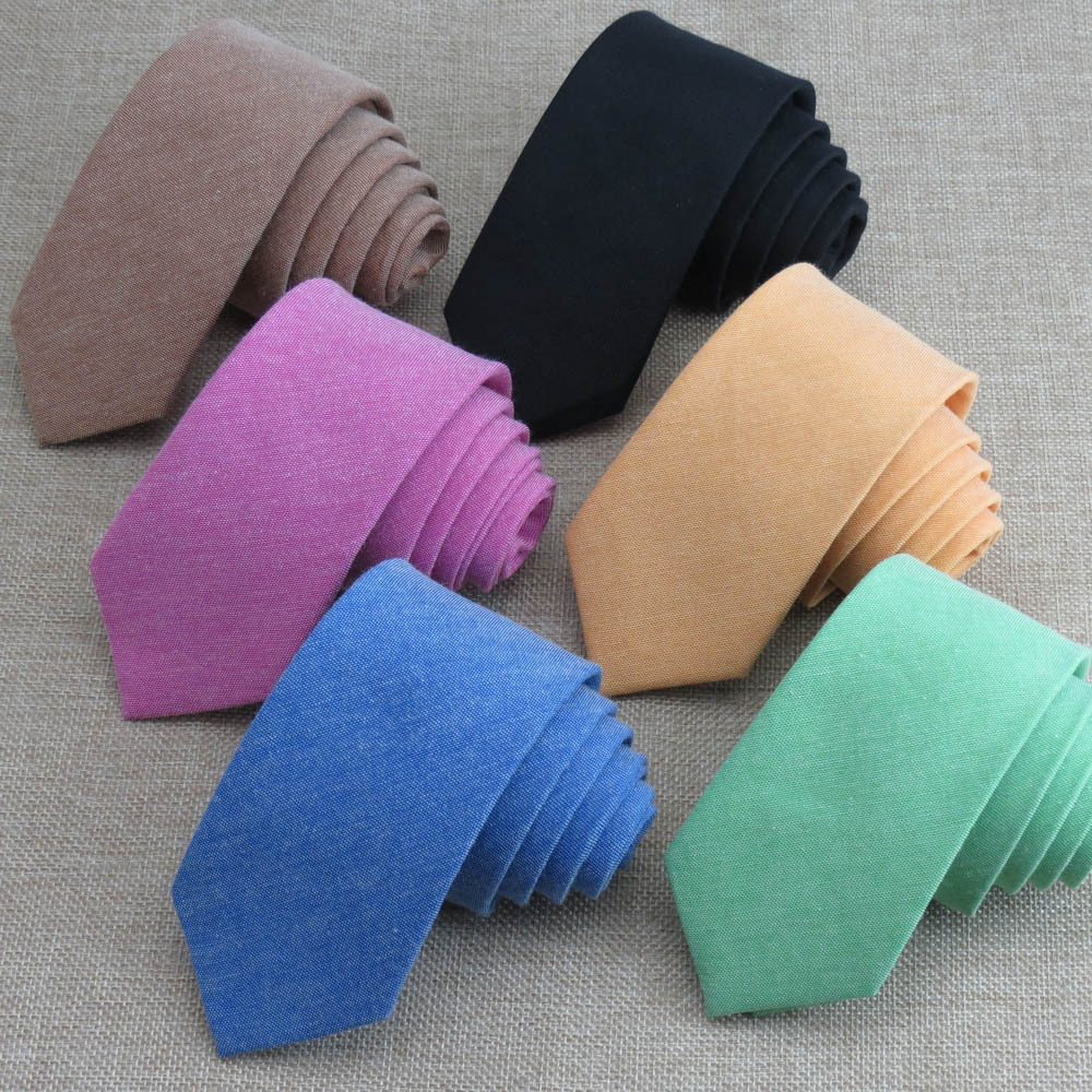 Linen Cotton Mens Ties Solid Color 6cm Skinny Tie Corbatas Para Hombre Gifts For Men Wedding Party Necktie