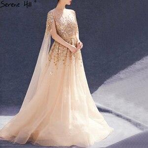Image 3 - דובאי זהב יוקרה O צוואר סקסי ערב שמלות 2020 פאייטים קריסטל עם כובע שרוולים פורמליות שמלת Serene היל LA70454